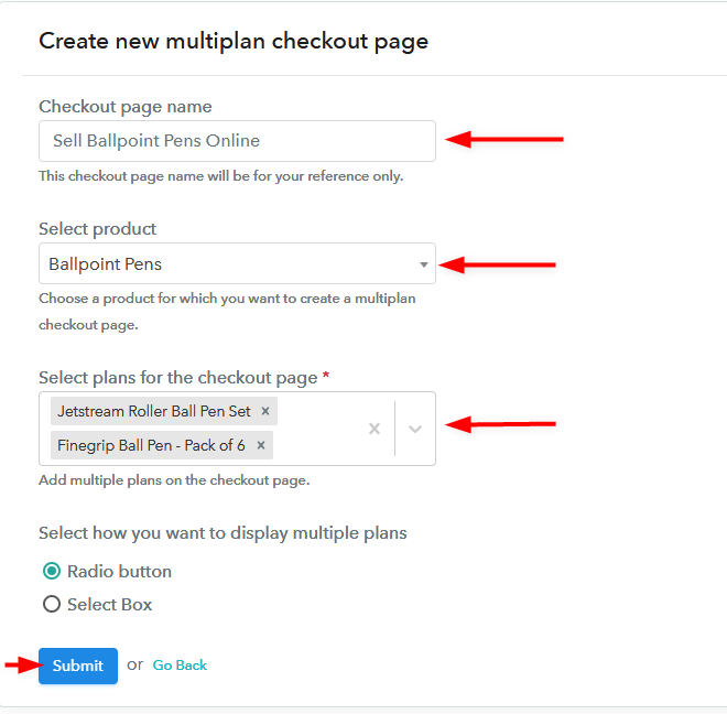 Create Multiplan Checkout Page - Start Selling Ball Pens