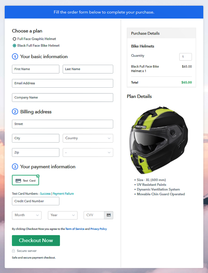 Preview Multiplan Checkout Page