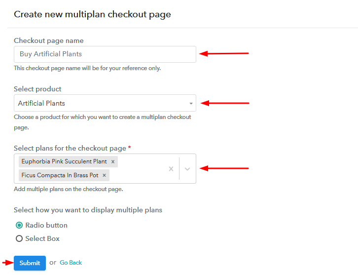 Create Multiplan Checkout to Sell Artificial Plants Online