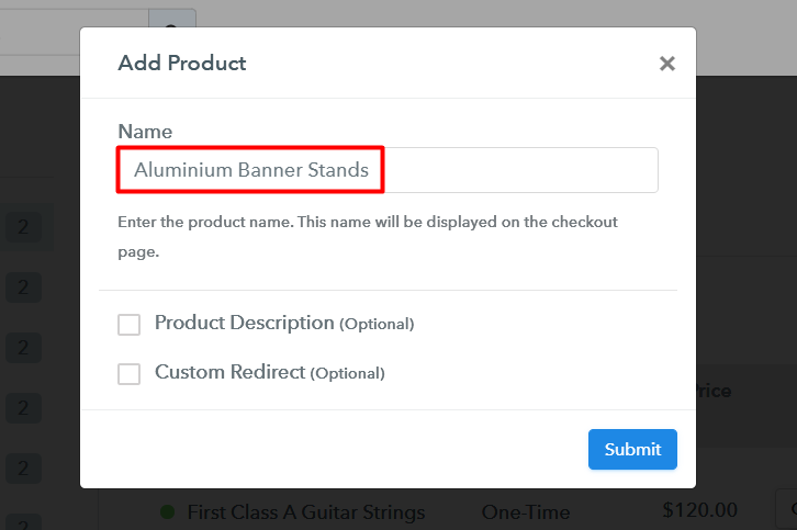 Add Product to Sell Aluminium Banner Stands Online