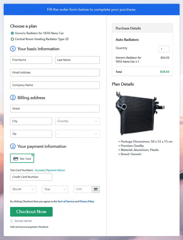 Sell Auto Radiators Online Multi Checkout