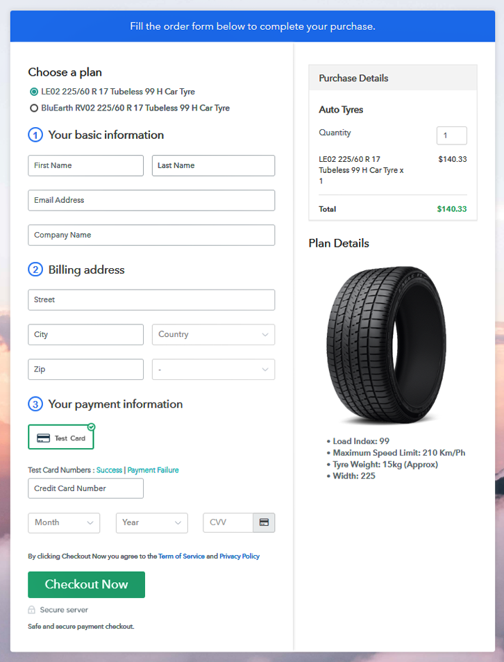 Sell Auto Tyres Online Multi Checkout