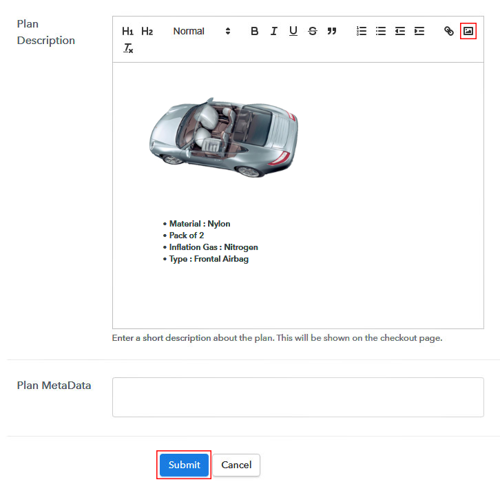 Add Image & Description to Sell Airbags Online