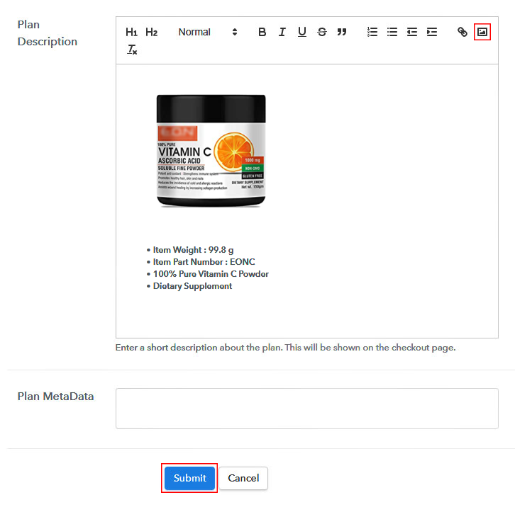 Add Image & Description to Sell Ascorbic Acid Online