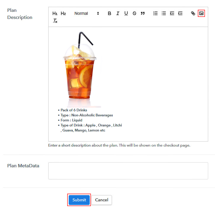 Add Image & Description to Sell Beverages Online