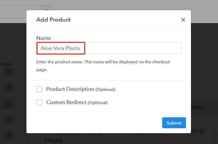 Add Product to Sell Aloe Vera Plants Online