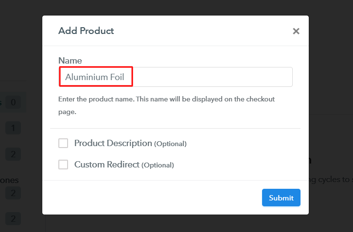 Add Product to Sell Aluminium Foil Online