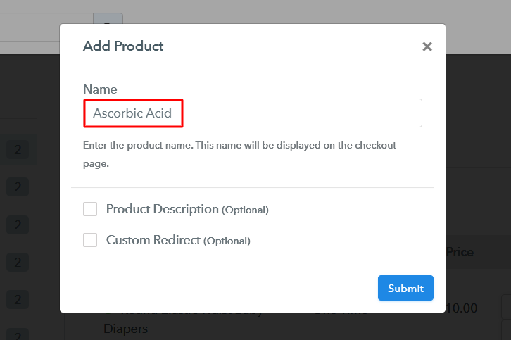 Add Product to Sell Ascorbic Acid Online