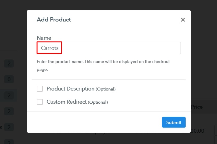 Add Product to Sell Carrots Online