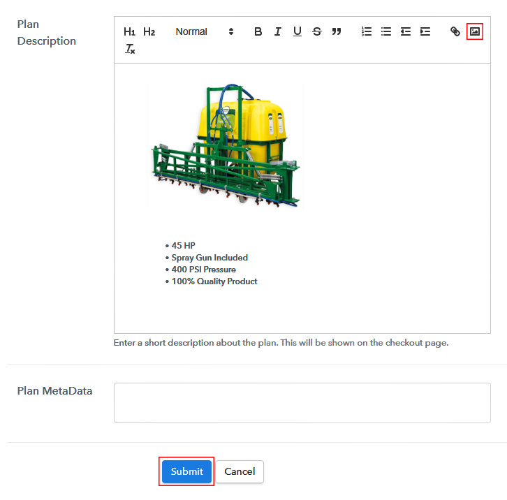 Add Image & Description to Sell Boom Sprayers Online