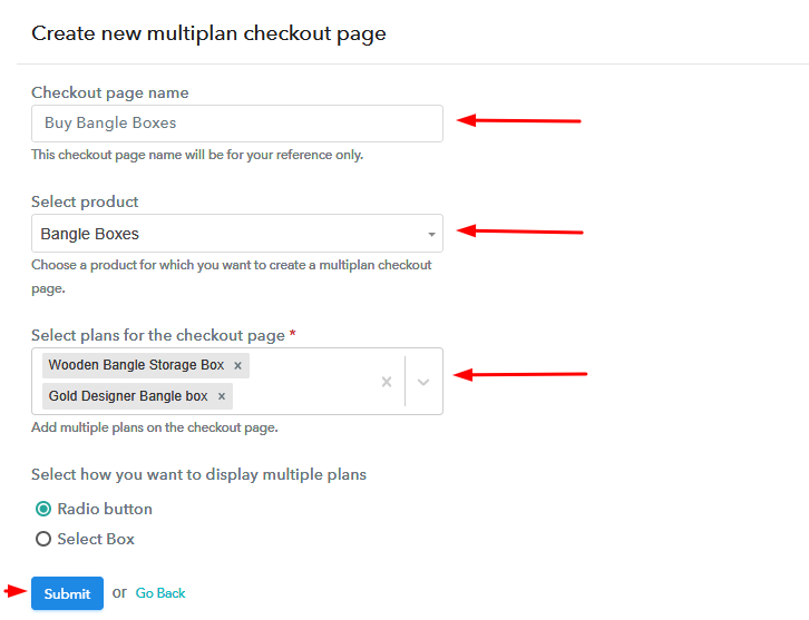 Add Plans to Sell Multiple Bangle Boxes from Single Checkout Page