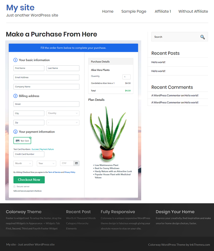 Checkout Page On Site to Sell Aloe Vera Plants Online
