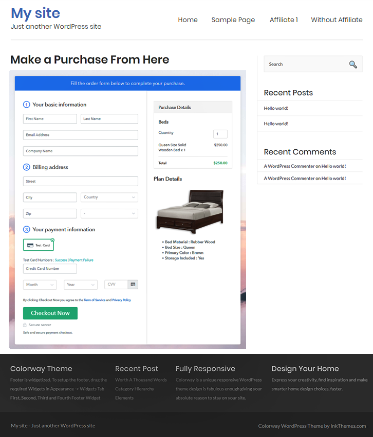 Checkout Page On WordPress Site to Sell Beds Online