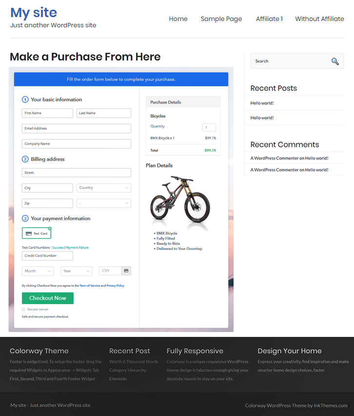 Checkout Page On WordPress Site to Sell Bicycles Online