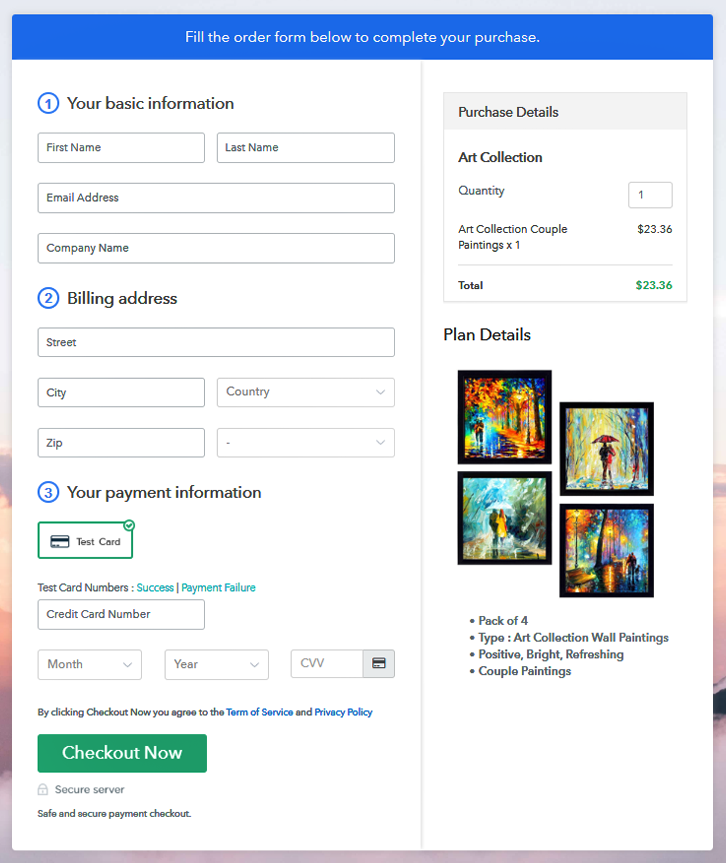 Checkout Page Preview to Sell Art Collection Online