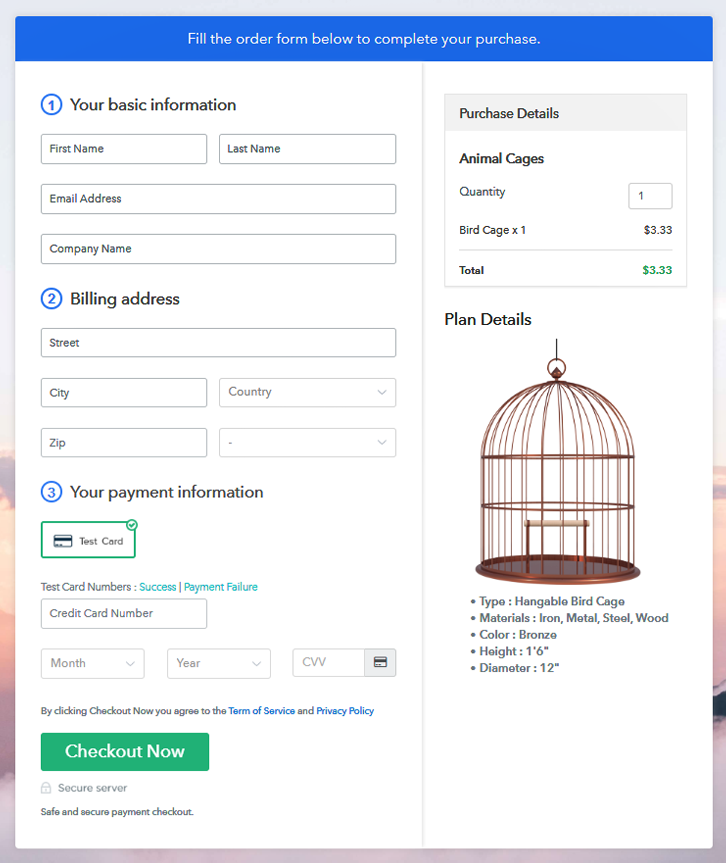 Checkout Page Preview to Sell Animal Cages Online