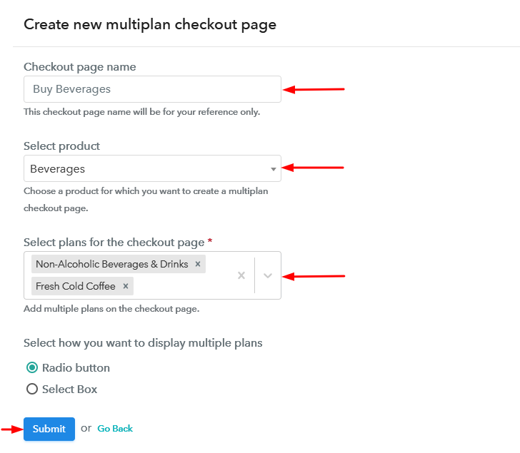 Create Multiplan Checkout Page to Sell Beverages Online