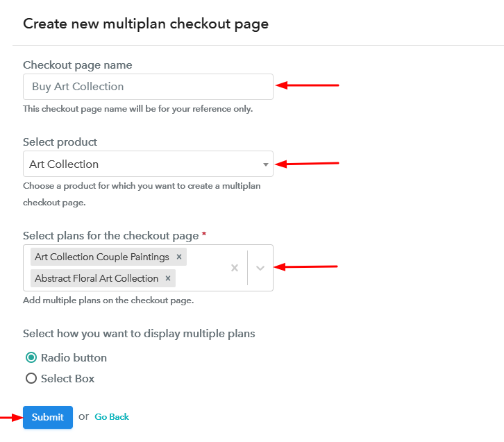 Create Multiplan Checkout Page to Sell Art Collection Online