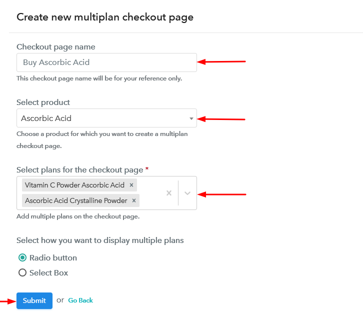 Create Multiplan Checkout to Sell Ascorbic Acid Online