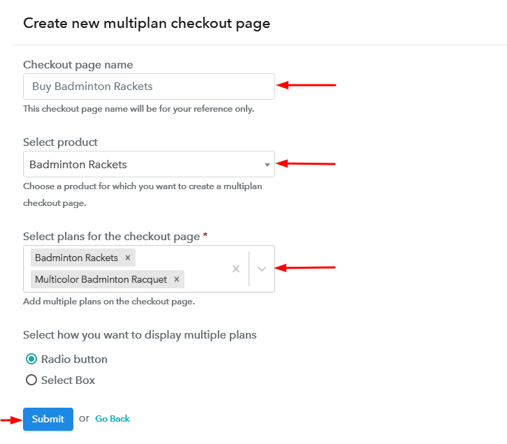 Create Multiplan Checkout to Sell Badminton Rackets Online