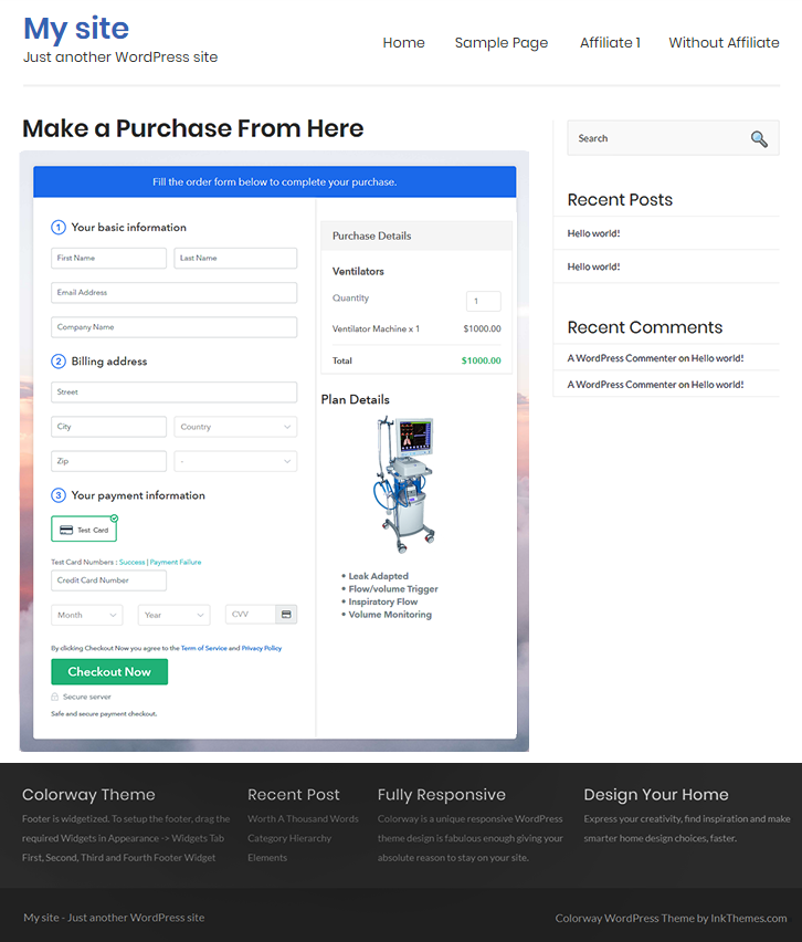 Final Look of your Checkout Page to Sell Ventilators Online