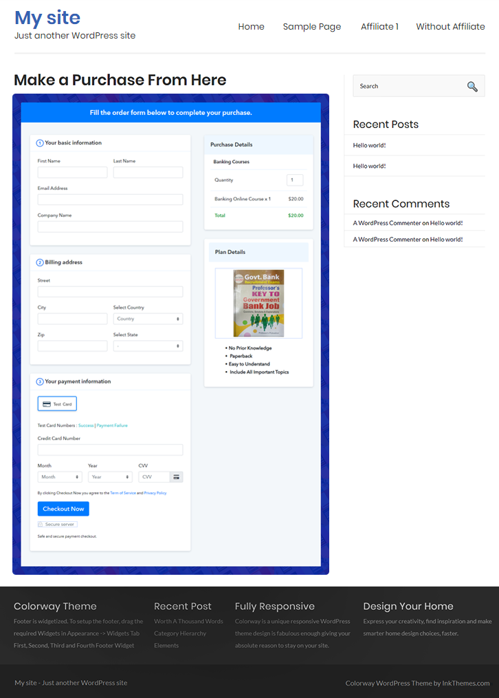 Final Look of your Checkout Page to Sell Banking Courses Online