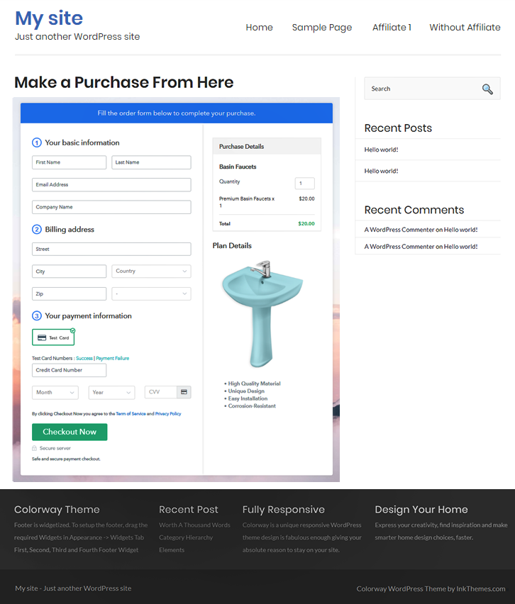 Final Look of your Checkout Page to Sell Basin Faucets Online