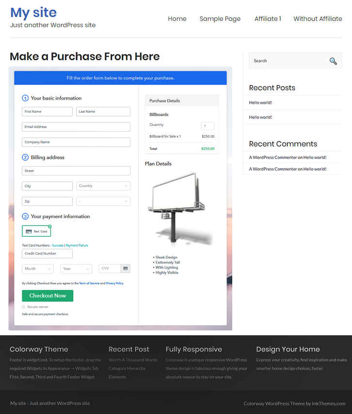 Final Look of your Checkout Page to Sell Billboards Online