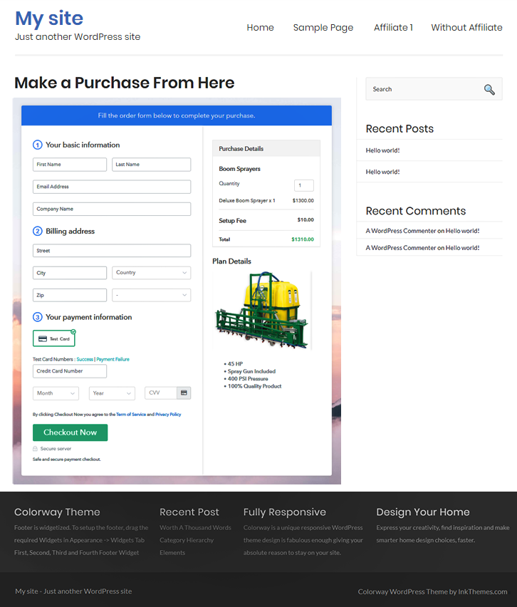 Final Look of your Checkout Page to Sell Boom Sprayers Online