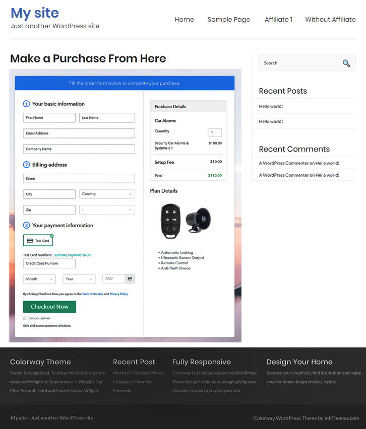 Final Look of your Checkout Page to Sell Car Alarms Online