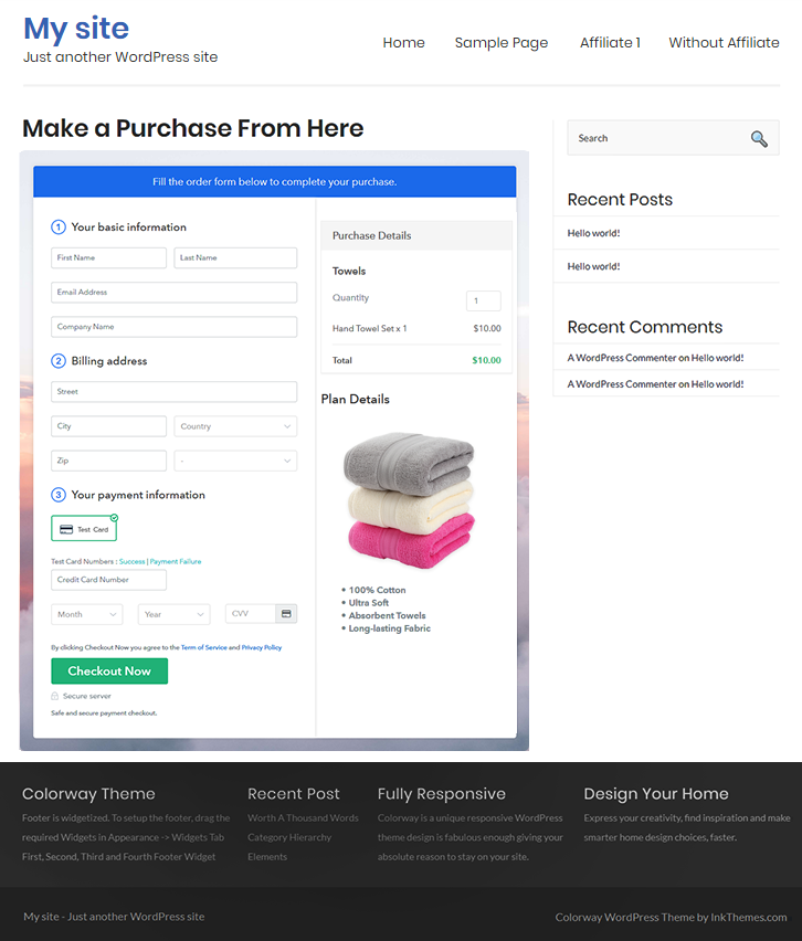 Final Look of your Checkout Page to Sell Towels Online