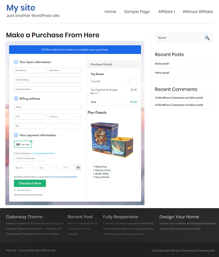 Final Look of your Checkout Page to Sell Toy Boxes Online