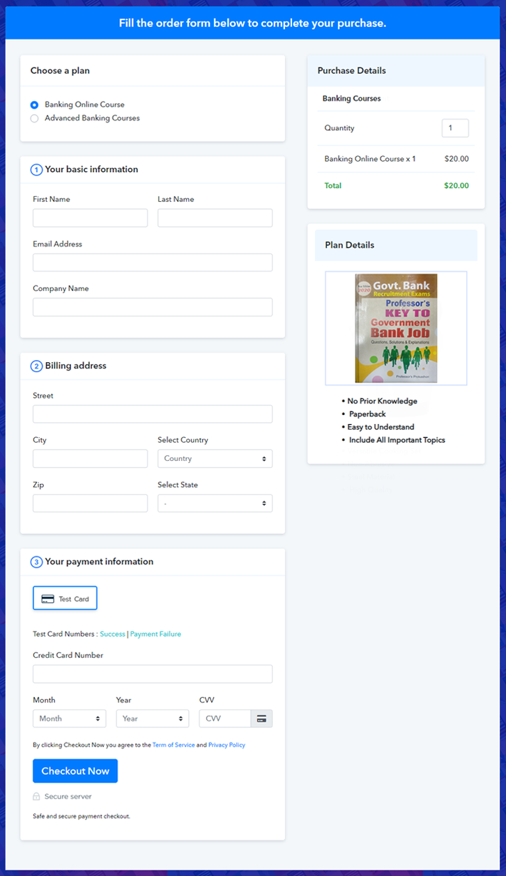 Multiplan Checkout Page to Sell Banking Courses Online