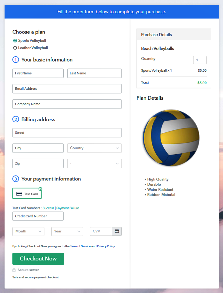 Multiplan Checkout Page to Sell Beach Volleyballs Online