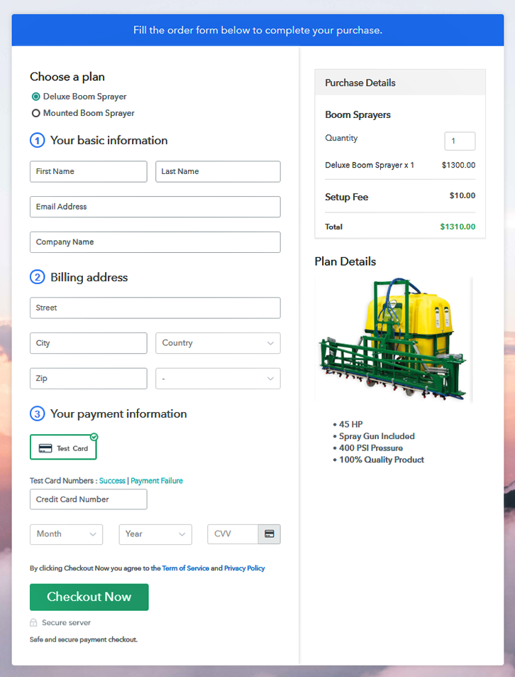 Multiplan Checkout Page to Sell Boom Sprayers Online