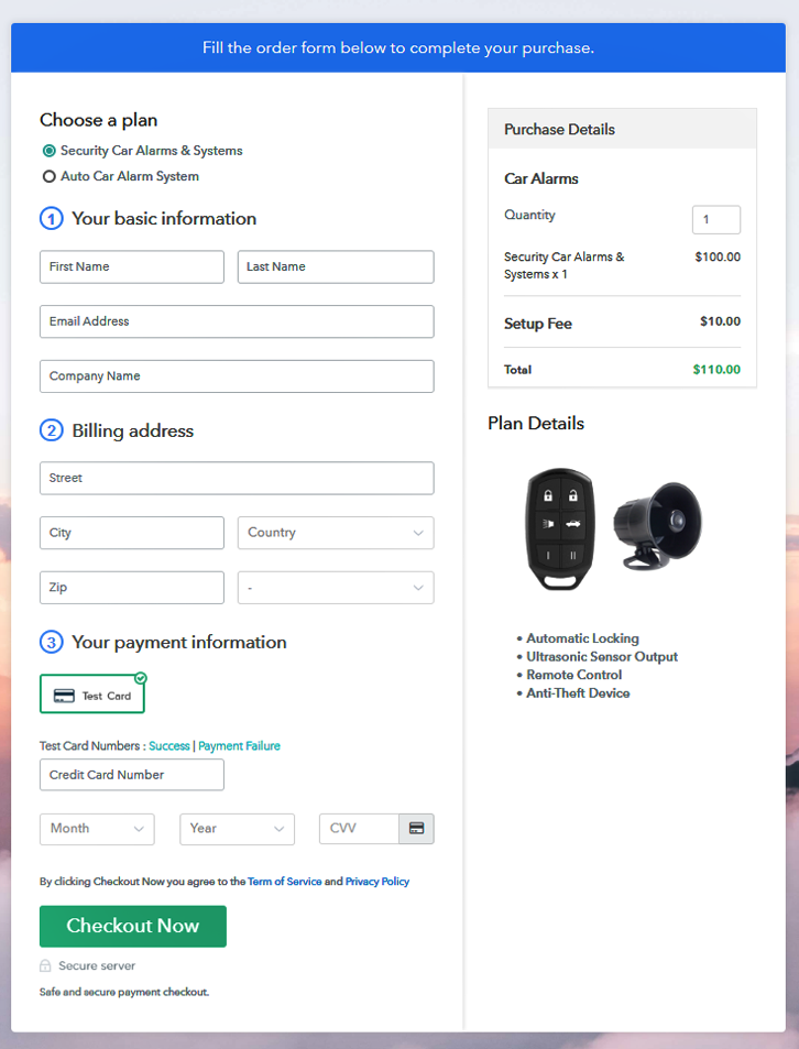 Multiplan Checkout Page to Sell Car Alarms Online