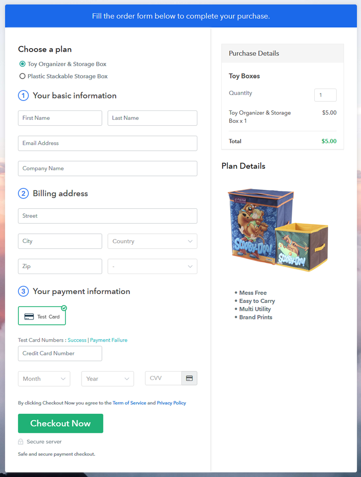 Multiplan Checkout Page to Sell Toy Boxes Online