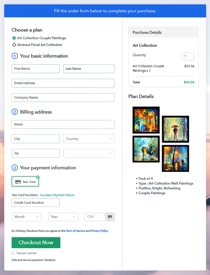 Multiplan Checkout Page to Sell Art Collection Online