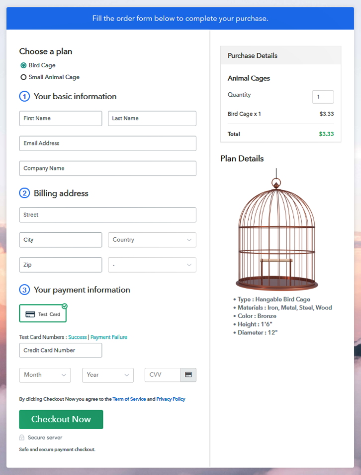 Multiplan Checkout Page to Sell Animal Cages Online