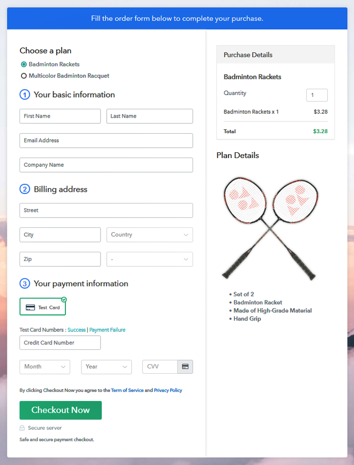 Multiplan Checkout Page to Sell Badminton Rackets Online