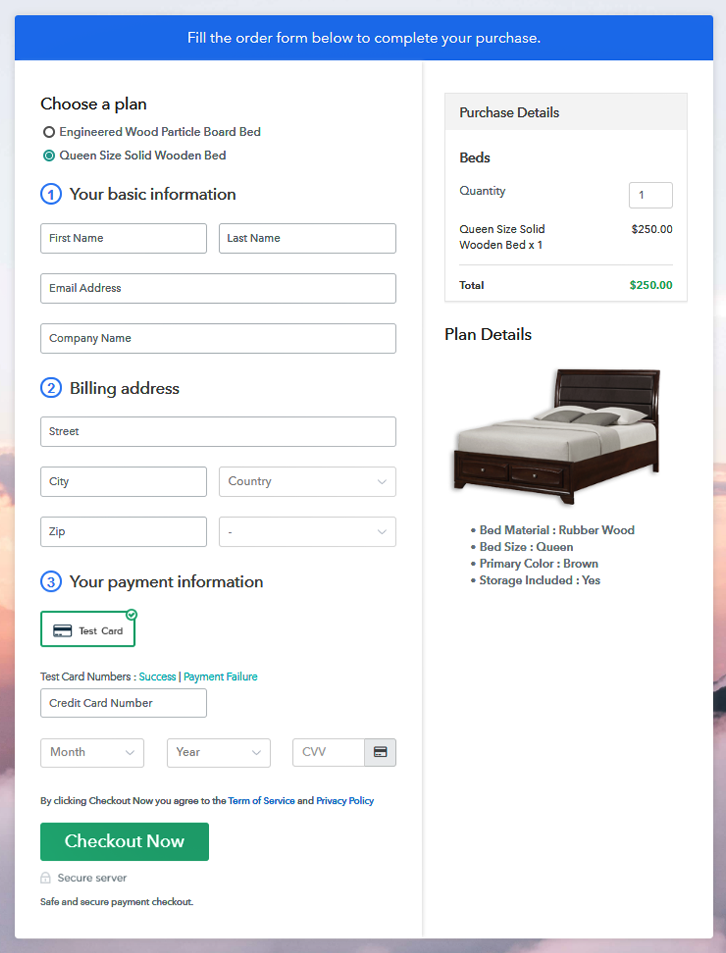 Multiplan Checkout Page to Sell Beds Online