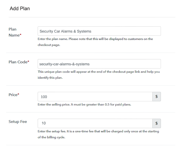 Specify the Plan and Pricing to Sell Car Alarms Online
