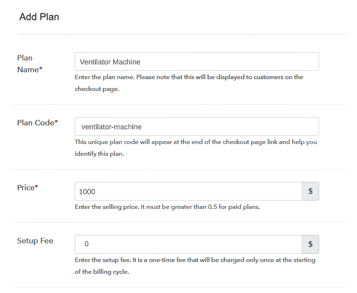 Specify the Plan and Pricing to Sell Ventilators Online