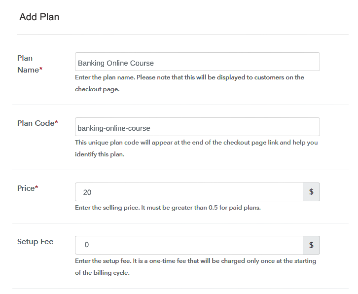 Specify the Plan and Pricing to Sell Banking Courses Online