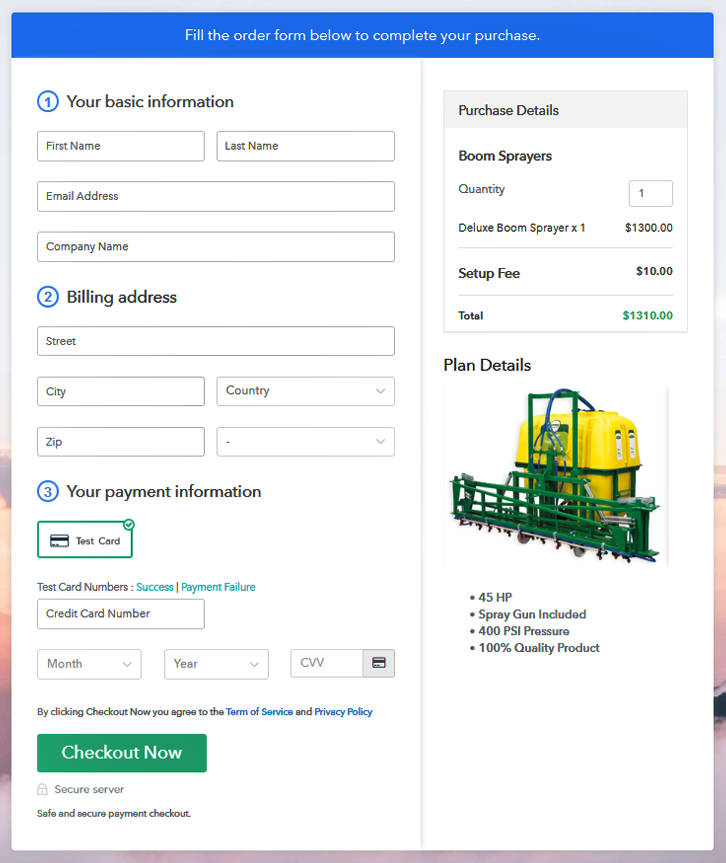 Checkout Page to Sell Boom Sprayers Online