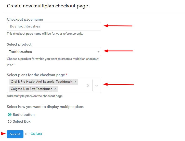 Add Plans to Sell Multiple Toothbrushes from Single Checkout Page