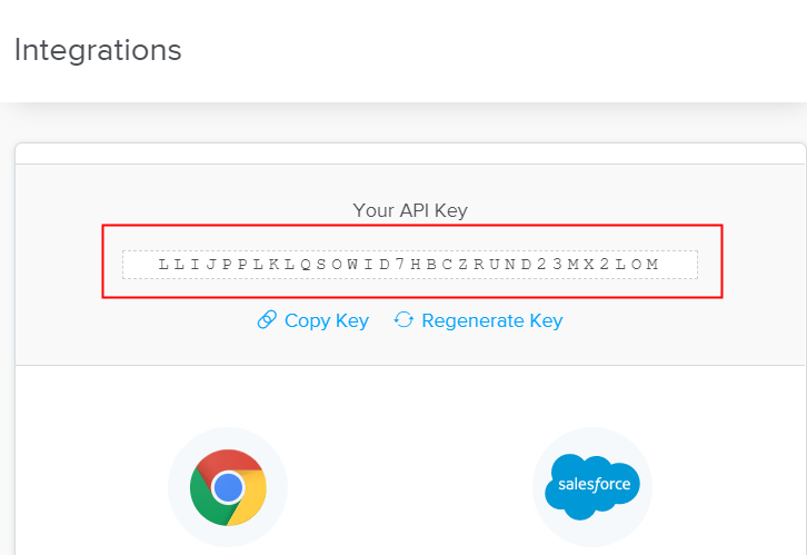 Copy or Regenerate the API Key