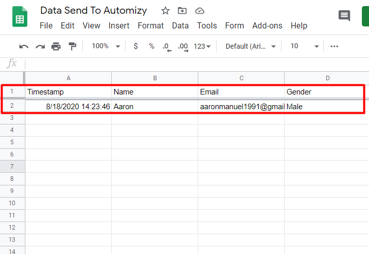 Preview The Google Sheet