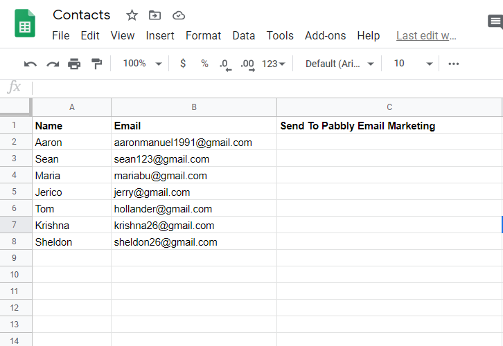 Create a Gooogle Sheet
