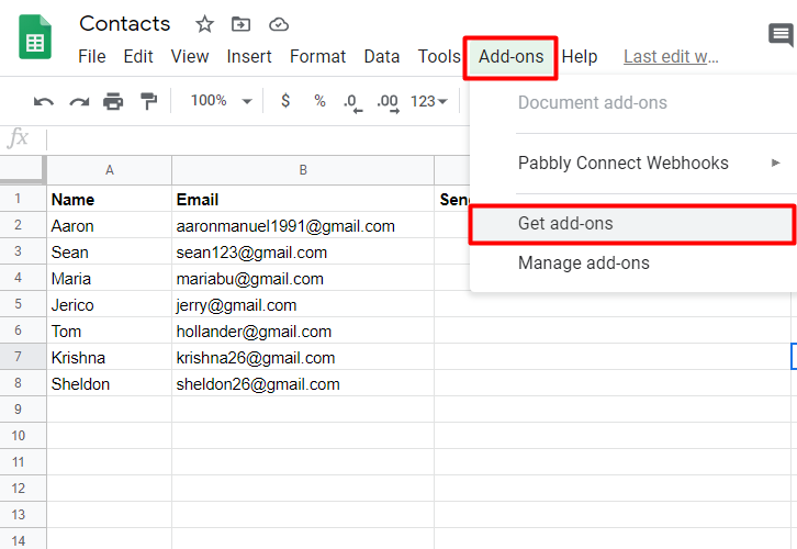 To connect google sheets to pabbly email marketing click on add-on